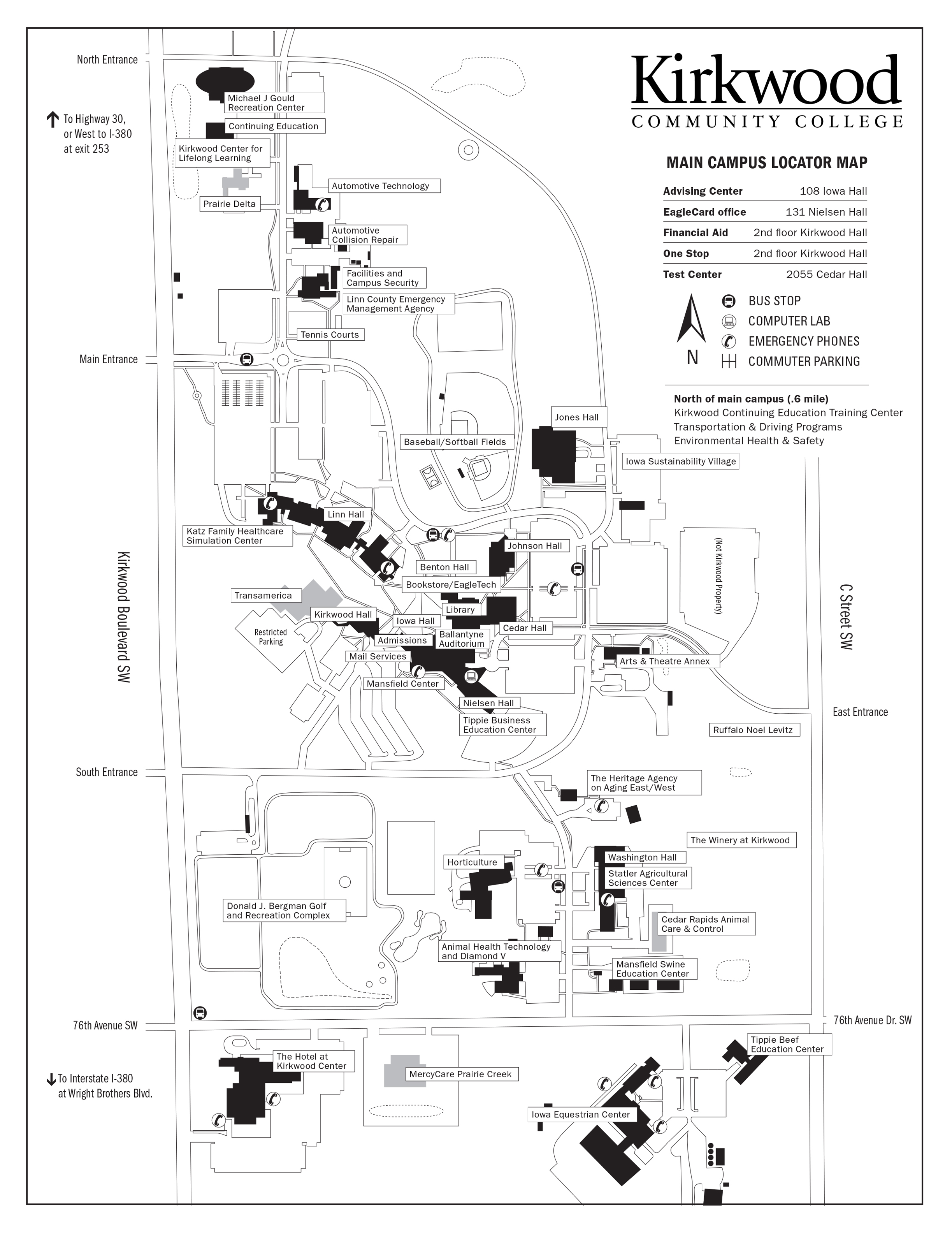 Kirkwood Community College Campus Map.Kirkwood Main Campus Map