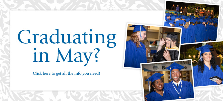 Graduating in May? Get more info here graphic.