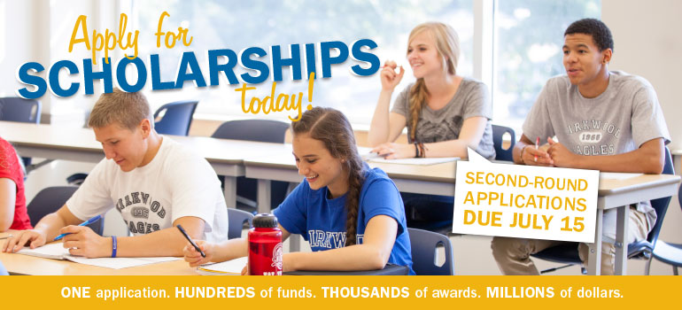 Apply for scholarships! Second-round applications due July 15.