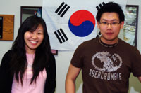 Korean Flag and two students