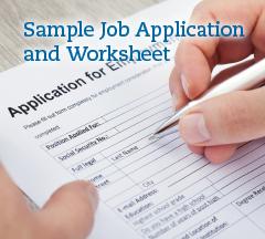 Click for a sample job application worksheet.