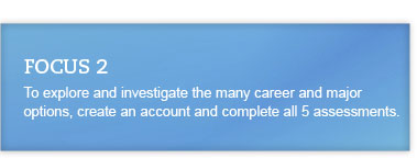 Focus 2: To explore and investigate the many career and major options, create an account and complete all 5 assessments.