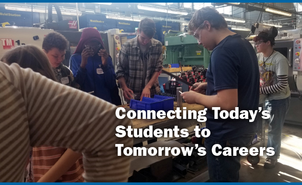 Connecting Today's Students to Tomorrow's Careers. Image of students at a job site.