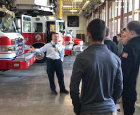 Image of job shadow students touring Cedar Rapids Fire Department's Central Fire Station.