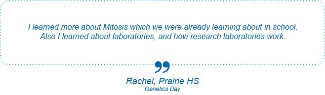 I learned more about Mitosis which we were already learning about in school. Also I learned about laboratories, and how research laboratories work. - Rachel, Prairie High School, Genetics Day