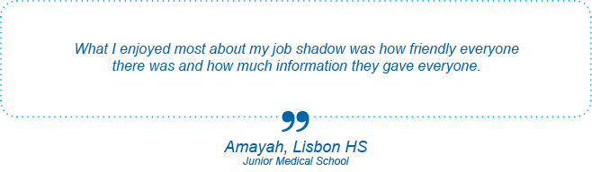 I learned more about Mitosis which we were already learning about in school. Also I learned about laboratories, and how research laboratories work. - Amayah, Lisbon High School, Genetics Day
