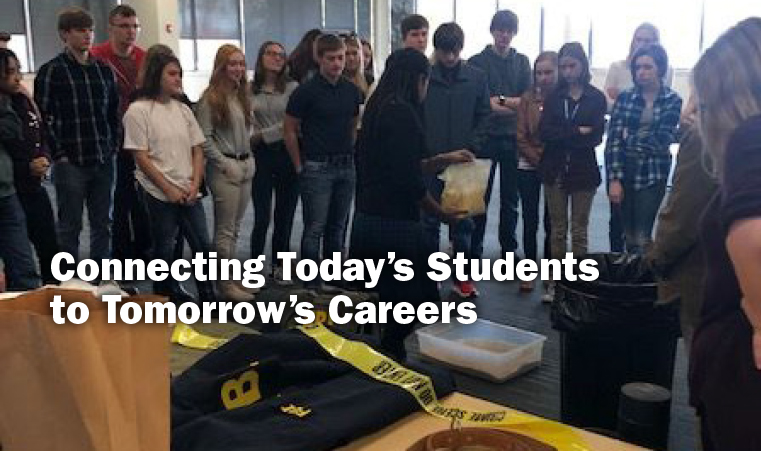 Connecting Today's Students to Tomorrow's Careers. Image of students gathered at the FBI Career Day, Oct. 2019.