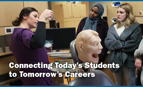 Connecting Today's Students to Tomorrow's Careers. Image of student doing a job shadow.
