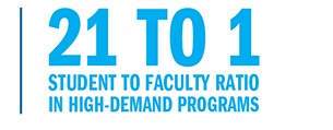 21 to 1 student to faculty ratio in high-demand programs