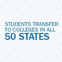 Students transfer to colleges in all 50 states.
