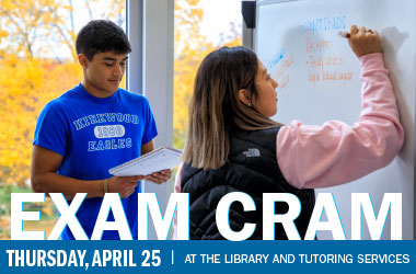 Exam Cram, Thursday, April 25 at the Library and Tutoring Services