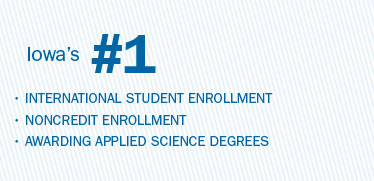 Iowa's number 1 in international student enrollment; noncredit enrollment; awarding applied science degrees