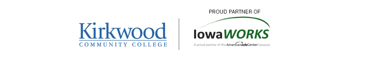 Kirkwood and IowaWORKS logo